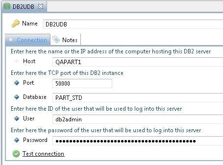 Validate and configure RDBMS connection for DB2 UDB Analysis